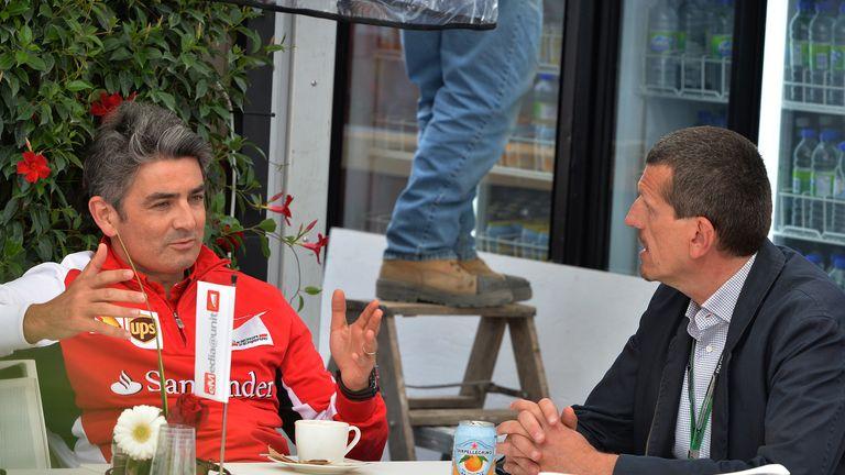 Ferrari Team Principal Marco Mattiacci met with Haas F1 Team Principal Guenther Steiner at the Canadian GP