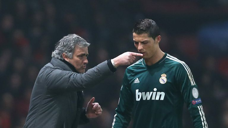 Real Madrid manager Jose Mourinho gives orders to Cristiano Ronaldo in 2013