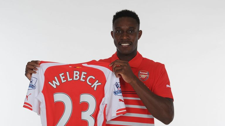 Arsenal unveil new signing Danny Welbeck at London Colney on September 2, 2014 in St Albans, England
