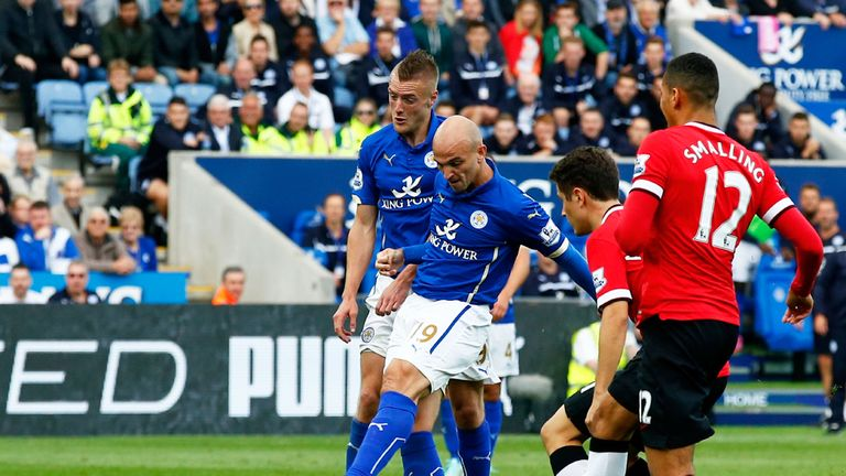 Esteban Cambiasso got the equalising goal for Leicester against United