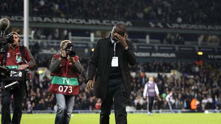 Former footballer Fabrice Muamba shows emotion during a parade around the pitch at White Hart Lanen