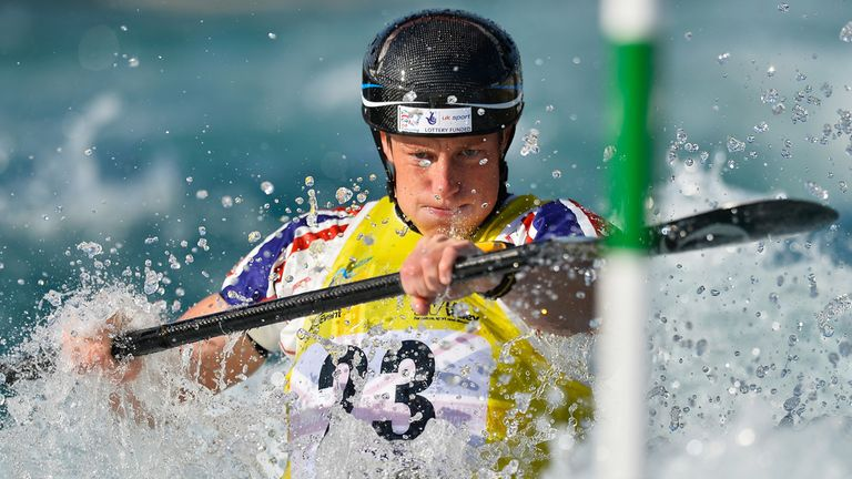 Fiona Pennie in action in the women's kayak at Lee Valley in 2014