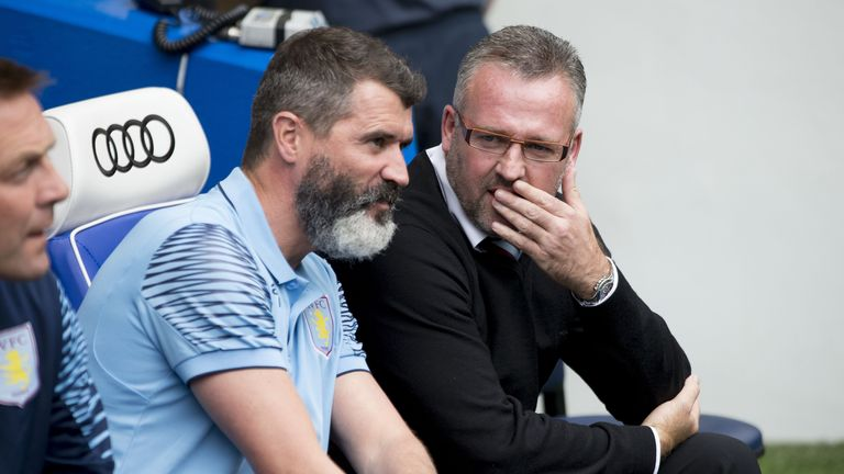 Aston Villa manager Paul Lambert with assistant Roy Keane