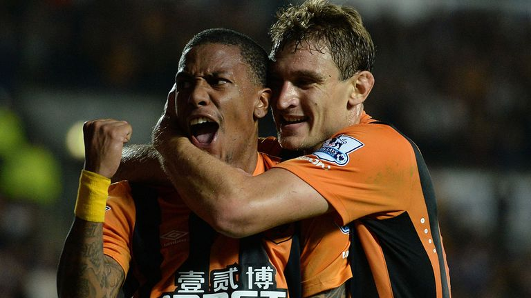 Hull City's Abel Hernandez (left) celebrates with Nikica Jelavic after scoring his side's first goal during the Barclays Premier League match at the KC Sta