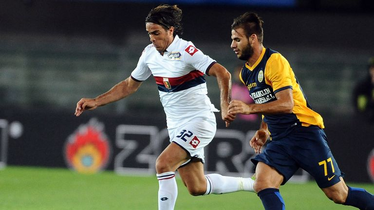 Alessandro Matri # 32 of Genoa CFC in action during the Serie A match between Hellas Verona FC and Genoa CFC at Stadio Marc'A