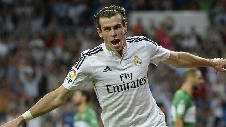 Real Madrid's Welsh forward Gareth Bale celebrates after scoring