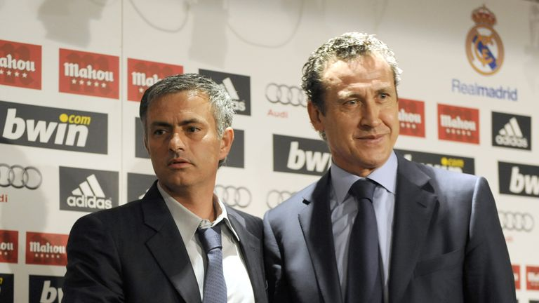 Mourinho and Jorge Valdano upon his unveiling at Real Madrid