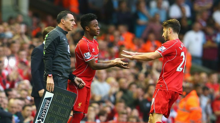 Raheem Sterling of Liverpool comes on for Adam Lallana