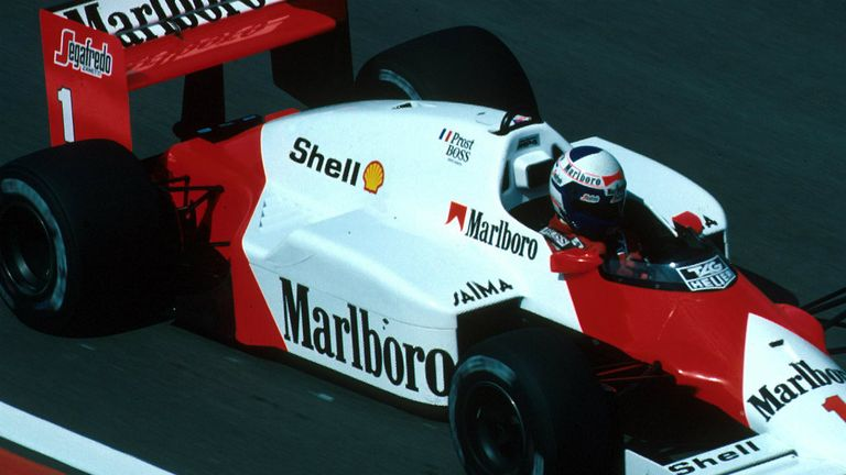 Alain Prost at the 1986 Belgian GP with Segafredo branding on the rear wing endplate