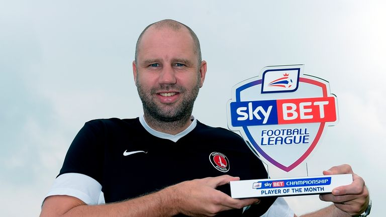 Charlton Athletic boss Bob Peeters collects the Sky Bet Championship Player of the Month for August 2014 on behalf of Igor Vetokele