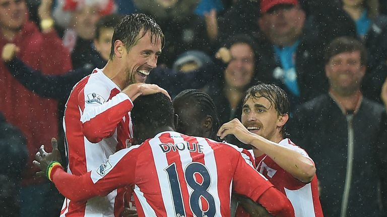 Peter Crouch of Stoke City celebrates
