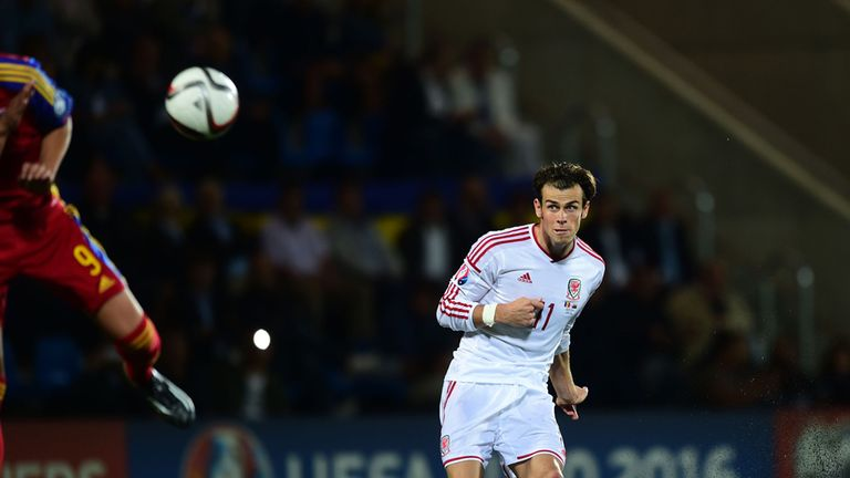 Wales' Gareth Bale scores their second goal during the UEFA Euro 2016 Qualifying, Group B match at the the Camp d'Esports del M.I. Consell General, Andorra