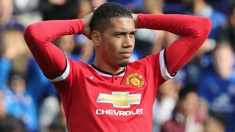 Chris Smalling came off the bench in United's 2014 defeat at Leicester