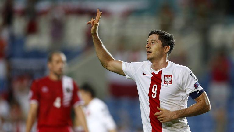 Poland forward Robert Lewandowski netted four in his last away tie against Gibraltar