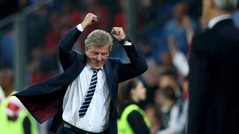 Roy Hodgson of England celebrates a scored goal during the EURO 2016 Qualifier match between Switzerland and England