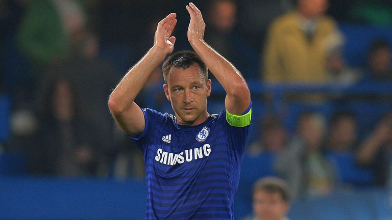 Chelsea's John Terry applauds the fans following the UEFA Champions League, Group G match at Stamford Bridge, Liverpool.