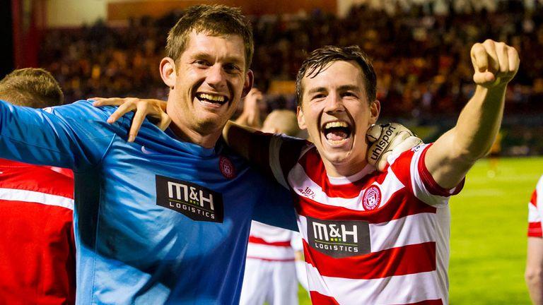 Michael McGovern and Craig Watson celebrate Hamilton's win over Motherwell