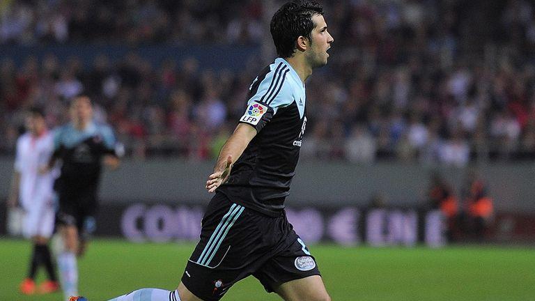 Alex Lopez of Celta celebrates