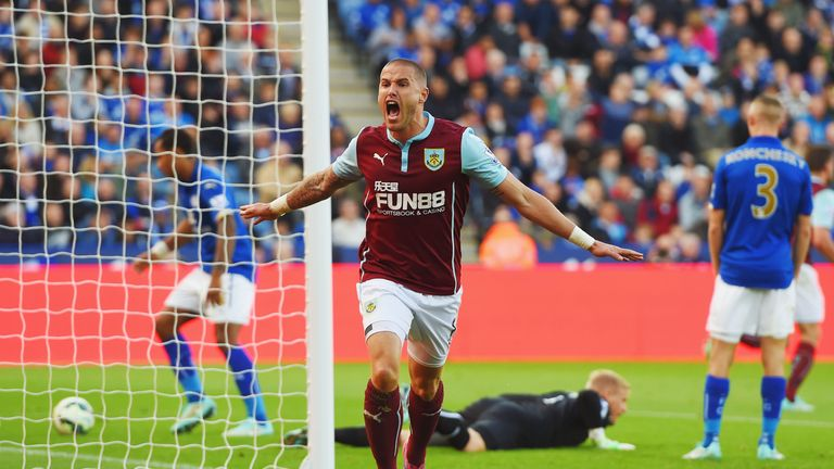 Burnley's Michael Kightly celebrates the equaliser to make it 1-1