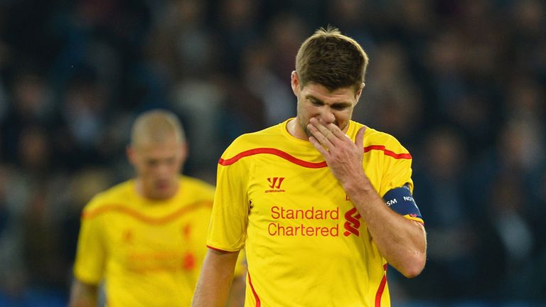 Steven Gerrard of Liverpool looks on during the UEFA Champions League Group B match between FC Basel 1893 and Liverpool