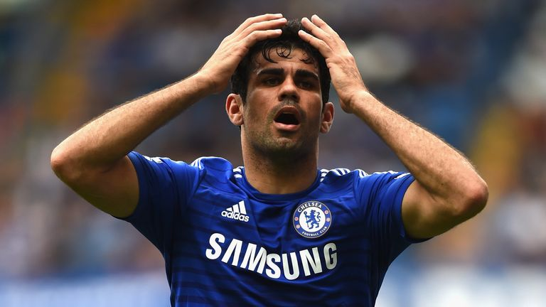 Diego Costa of Chelsea reacts during the Barclays Premier League match between Chelsea and Aston Villa at Stamford Bridge