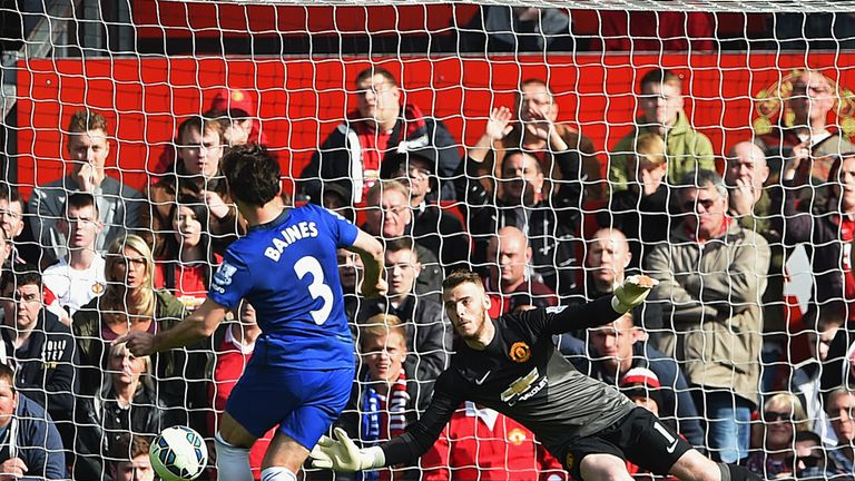 David de Gea saved this penalty from Leighton Baines just before half-time