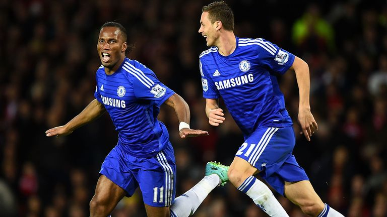 Didier Drogba and Nemanja Matic celebrate after taking the lead against Manchester United