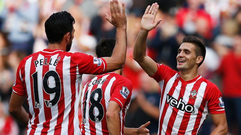 Graziano Pelle and Dusan Tadic of Southampton celebrate