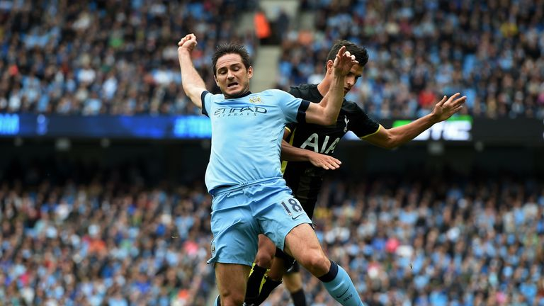 Frank Lampard wins City a penalty after being brought down by Erik Lamela