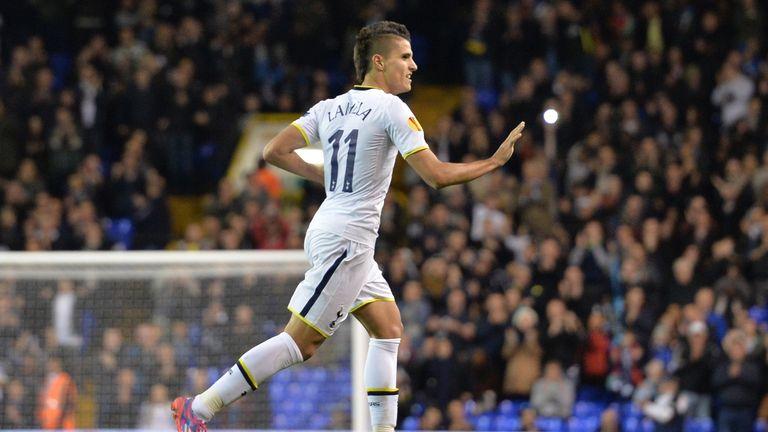 Tottenham Hotspur's Erik Lamela celebrates scoring his team's second goal during the UEFA Europa League group C match against Asteras