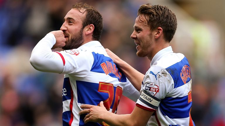 Glenn Murray of Reading celebrates after scoring the opening goal of the game