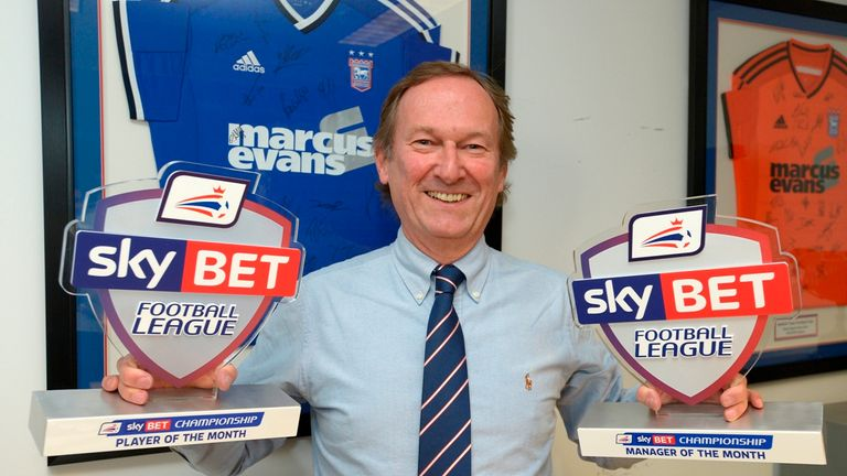 Ian Milne: Collects awards on behalf of Mick McCarthy and Tyrone Mings