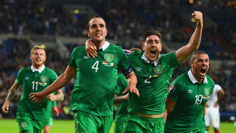 John O'Shea celebrates his late goal during the European Qualifier between Germany and Republic of Ireland at the Veltins-Arena in Gelsenkirchen