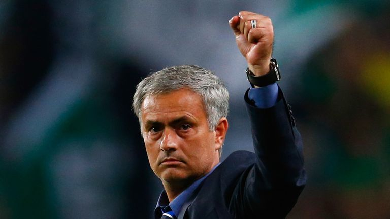 Jose Mourinho manager of Chelsea salutes the travelling fans after the UEFA Champions League Group G match