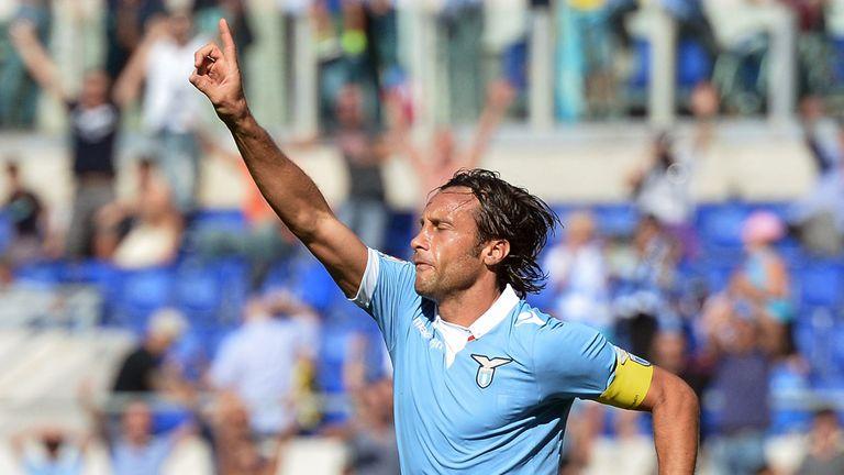 Lazio's midfielder Stefano Mauri celebrates