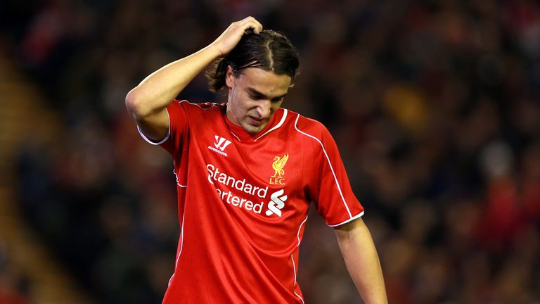 Liverpool's Lazar Markovic reacts after missing a chance