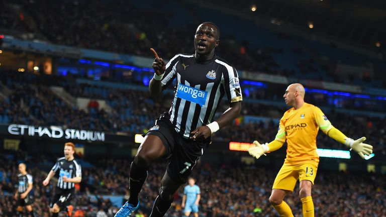 Moussa Sissoko of Newcastle United celebrates scoring their second goal during the Capital One Cup Fourth Round tie against Manchester City