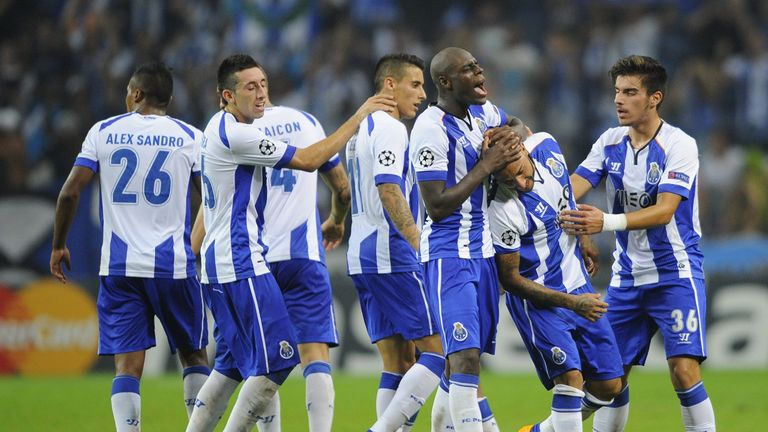 Porto's captain Ricardo Quaresma (2nd R) celebrates with teammates after scoring the winner against Athletic Bilbao