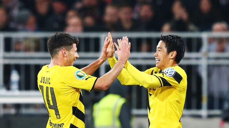Shinji Kagawa and Milos Jojic: Celebrate Dortmund's third goal