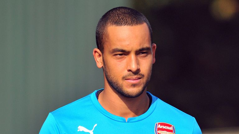Arsenal's English striker Theo Walcott attends a training session for the forthcoming UEFA Champions League