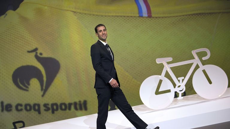 Vincenzo Nibali arrives on stage in Paris for the Tour de France route presentation