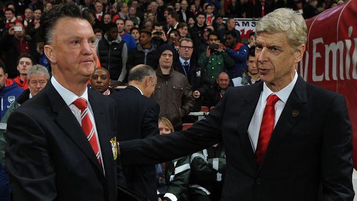 Arsene Wenger greets Louis van Gaal