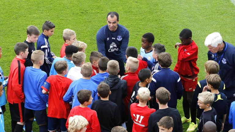 The youngsters met Everton boss Roberto Martinez