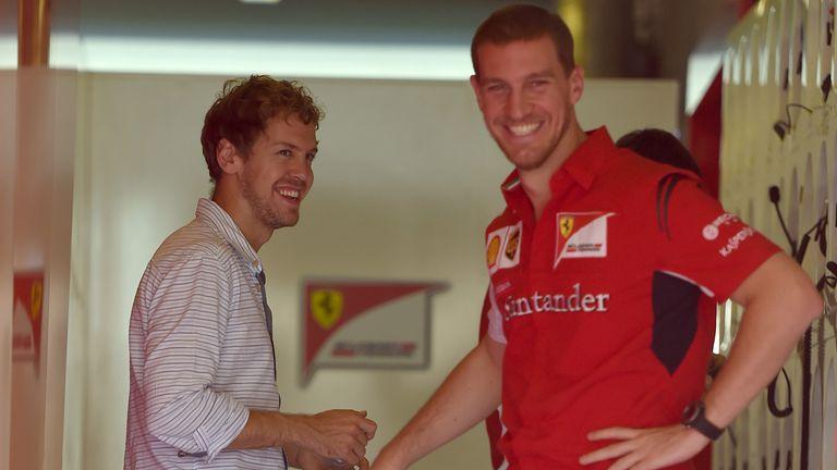 Sebastian Vettel with Renato Bisignani at the post-season Abu Dhabi test