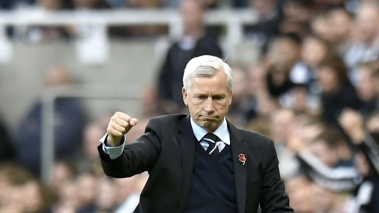 Newcastle United manager Alan Pardew celebrates victory after the Barclays Premier League match against Liverpool at St. James' Park, Newcastle