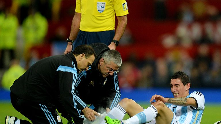 Argentina's Angel Di Maria was treated for an injury