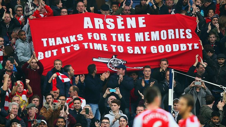 Arsenal fans hold up banner aimed at Arsene Wenger at West Brom, The Hawthorns, Premier League