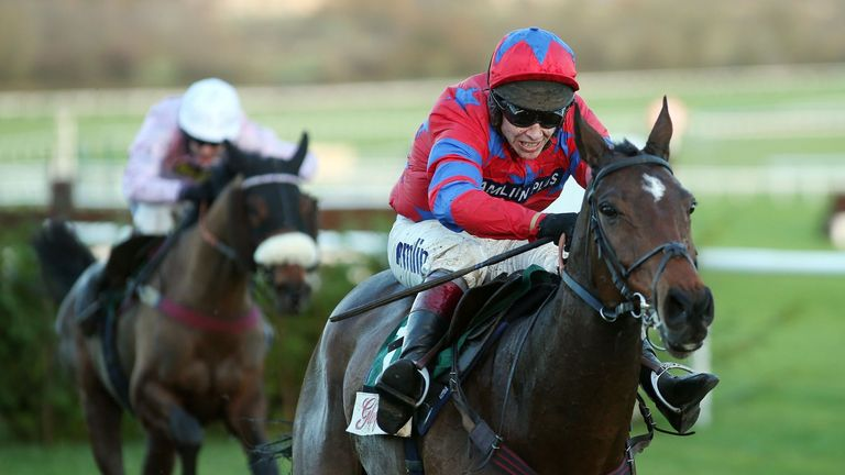 Balthazar King, ridden by Richard Johnson, on the way to victory in the Glenfarclas Cross Country Chase during Day One of The Open at Cheltenham Racecourse