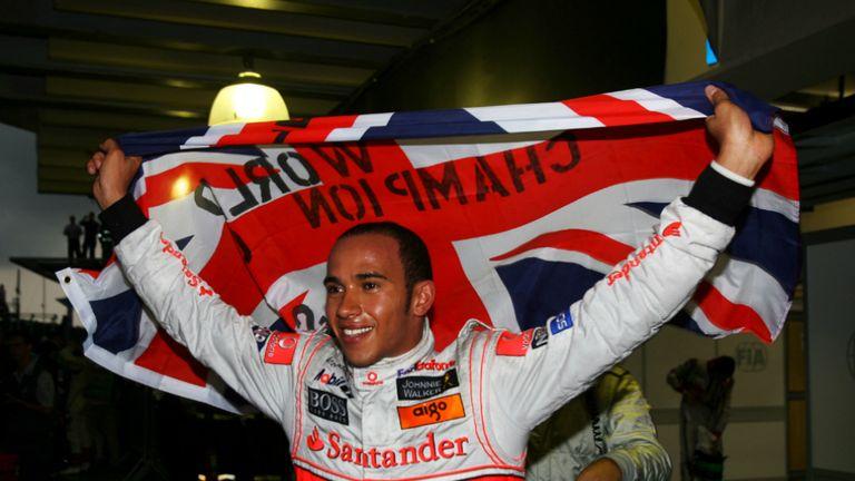 Lewis Hamilton celebrates 2008 World Championship victory