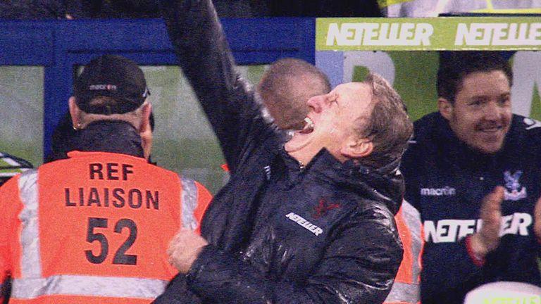Neil Warnock celebrates Crystal Palace's winner against Liverpool.